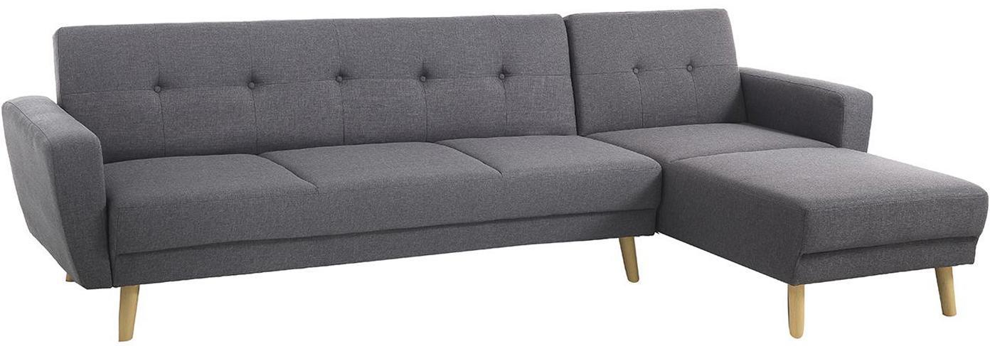 Sofá rinconero Hely, Patas: plástico efecto madera, Tapizado: tela de poliéster, Gris, beige, An 270 x F 150 cm