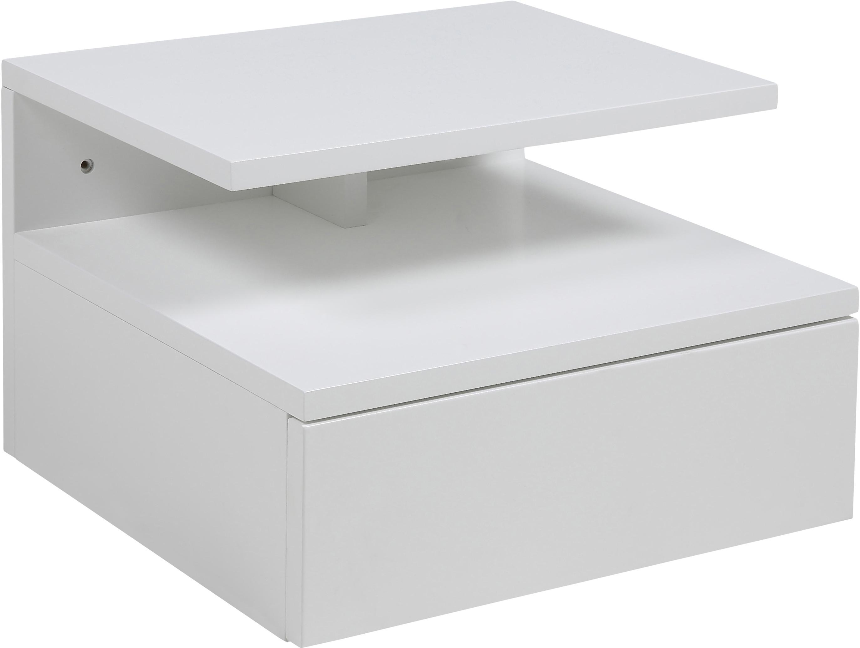 Wandnachtkastje Ashlan met laden, Gelakt MDF, Mat wit, 35 x 23 cm