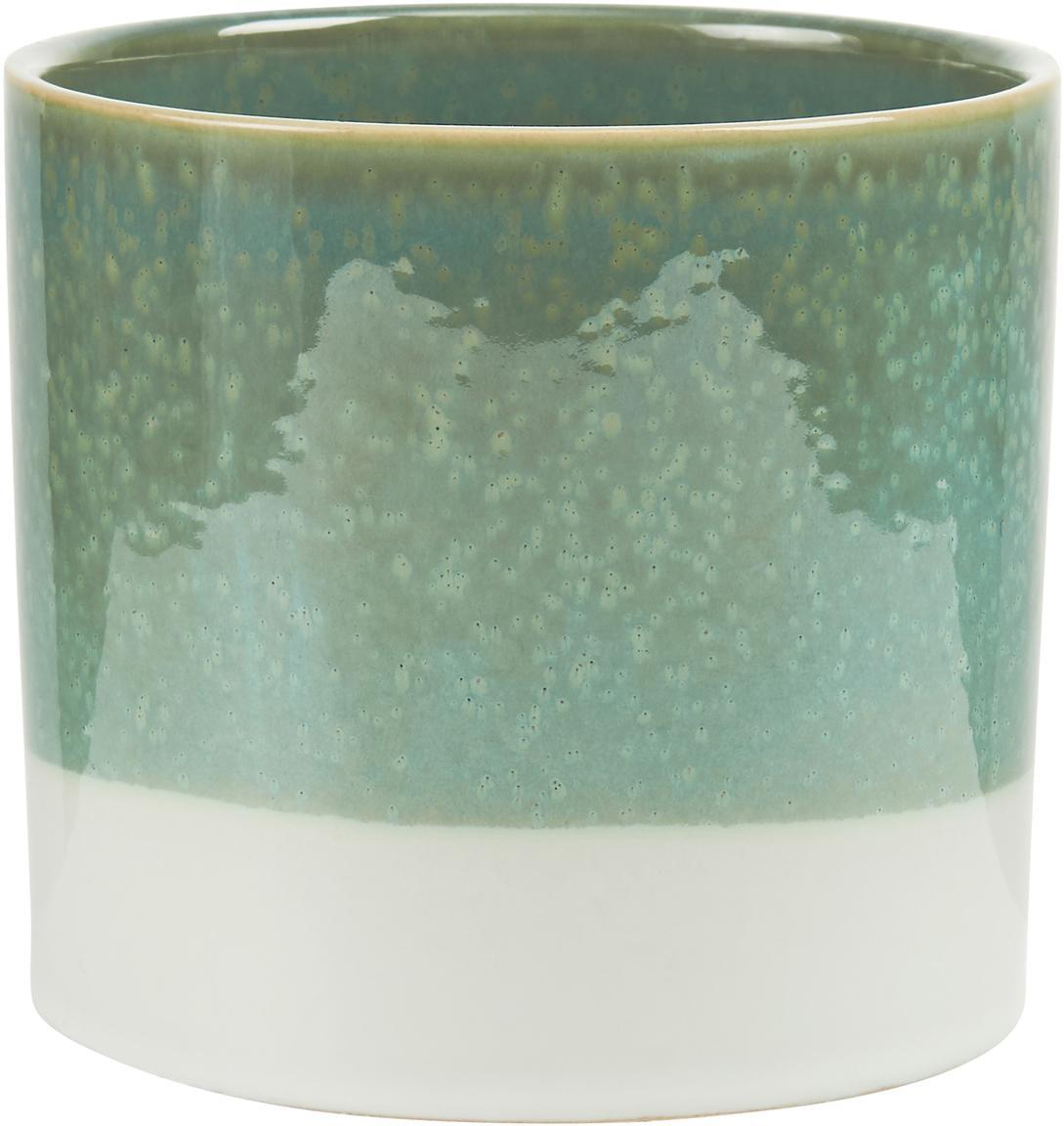 Osłonka na doniczkę Early Spring, Kamionka, Zielony, biały, Ø 14 x W 13 cm