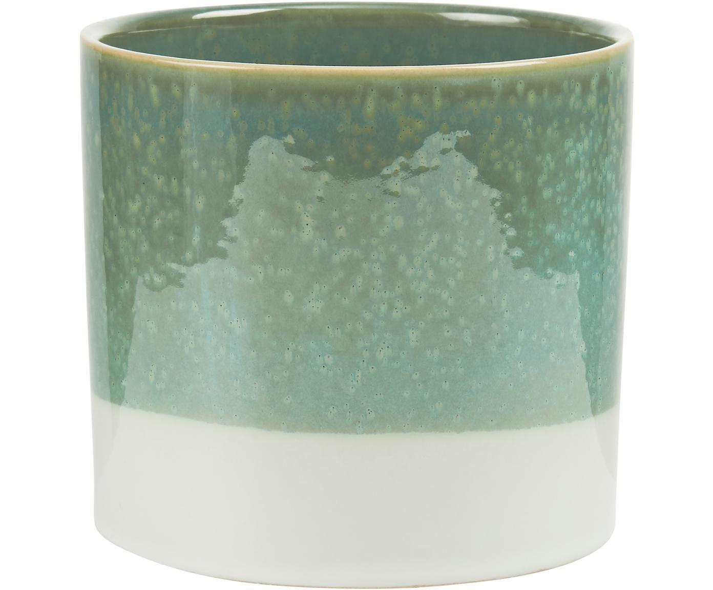 Macetero Early Spring, Gres, Verde, blanco, Ø 14 x Al 13 cm