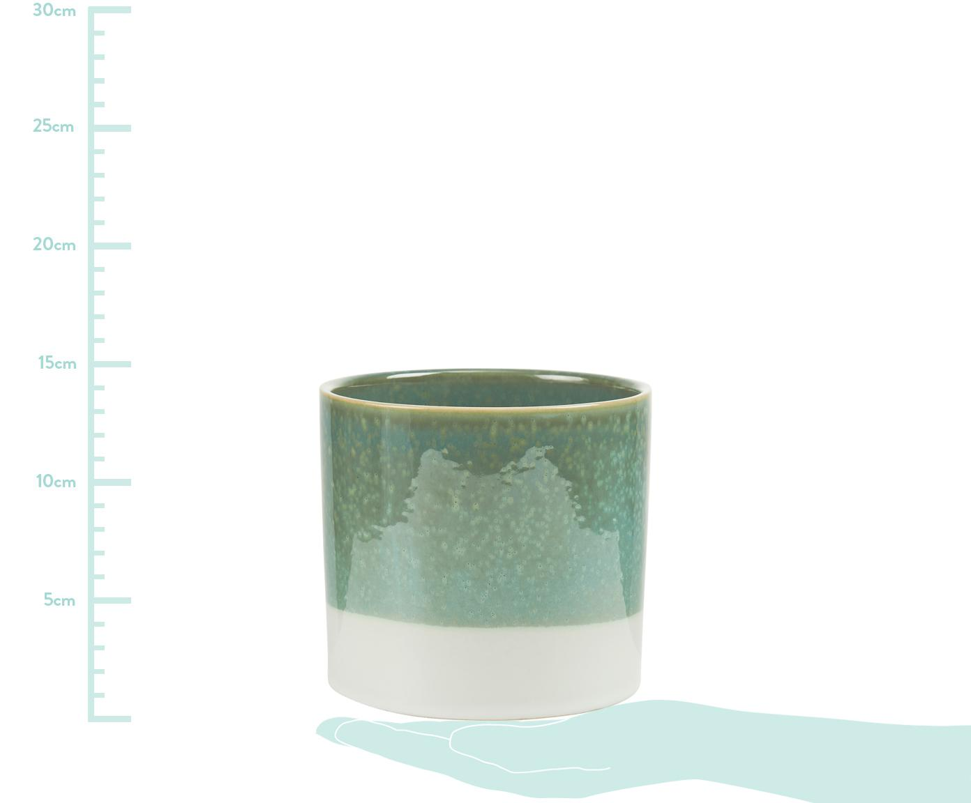 Osłonka na doniczkę Early Spring, Zielony, biały, Ø 14 x W 13 cm