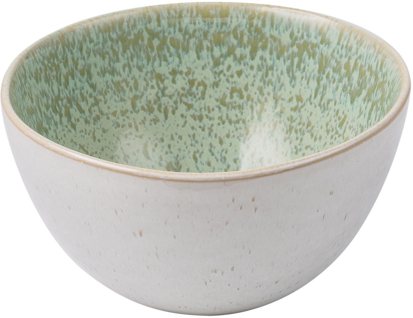 Handbemalte Schälchen Areia mit reaktiver Glasur, 2 Stück, Steingut, Mint, Gebrochenes Weiss, Beige, Ø 15 x H 8 cm