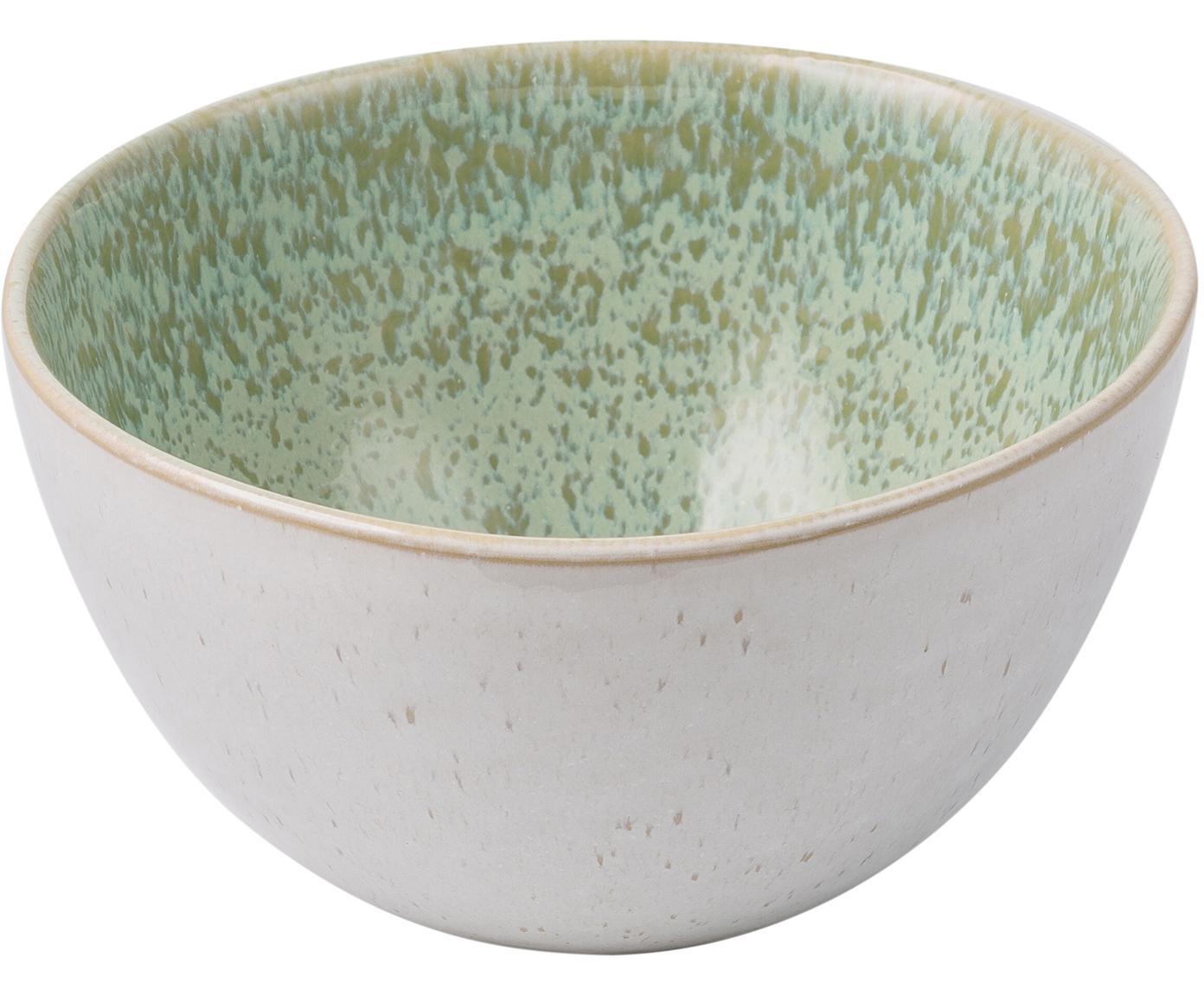 Handbemalte Schälchen Areia, 2 Stück, Steingut, Mint, Gebrochenes Weiss, Beige, Ø 15 x H 8 cm