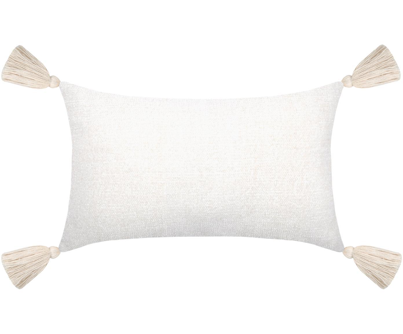 Cojín con borlas Chila, con relleno, Funda: 95%poliéster, 5%algodón, Blanco, An 30 x L 50 cm