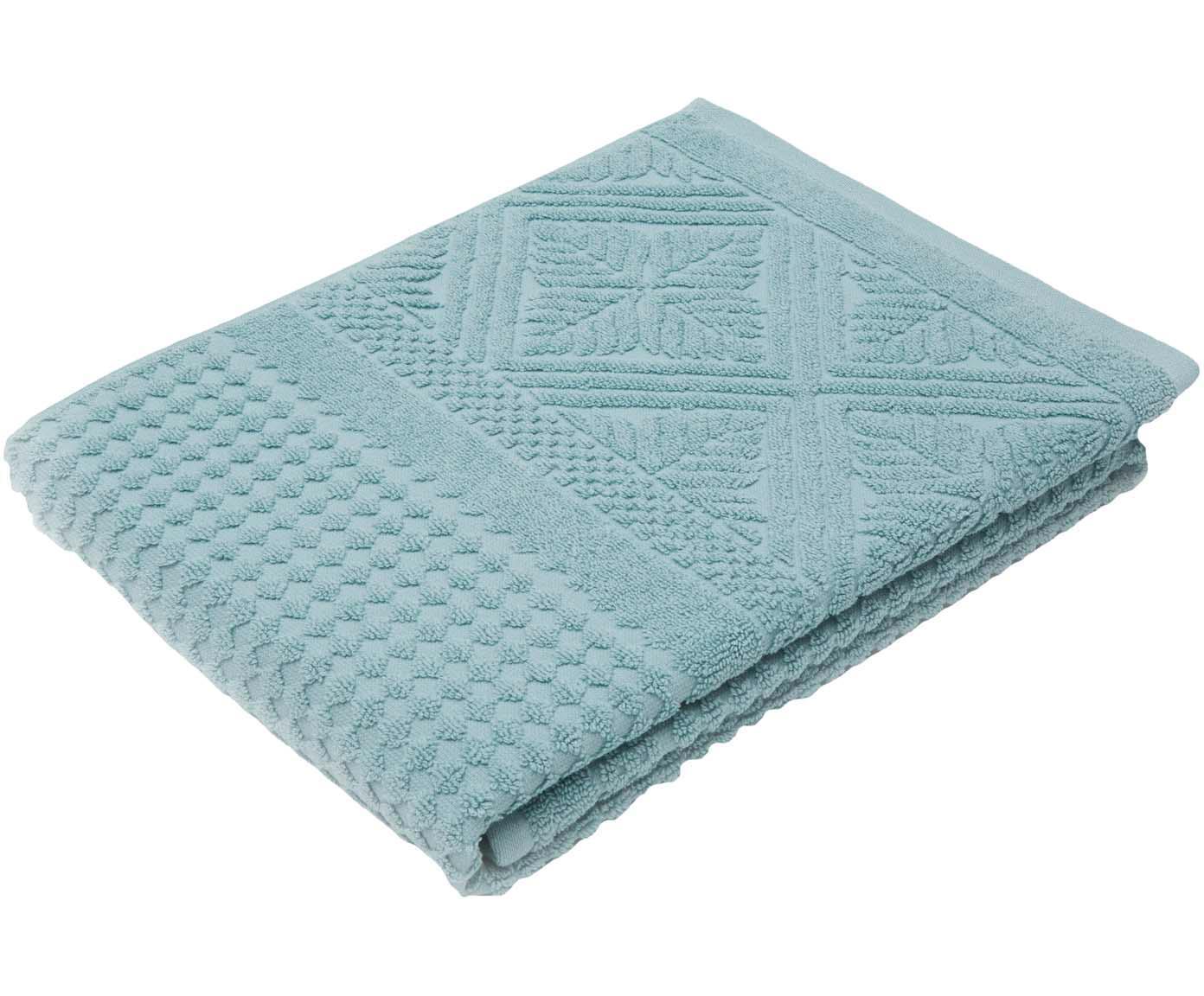 Handtuch Retro mit Hoch-Tief-Muster, Türkisblau, 50 x 100 cm