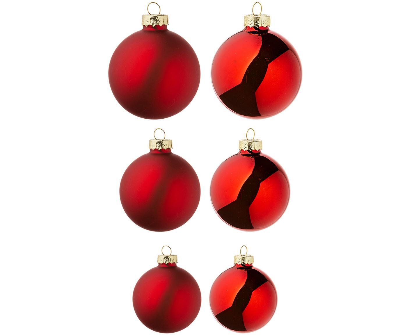 Weihnachtskugel-Set Nessa, 26-tlg., Glas, rot, Verschiedene Grössen