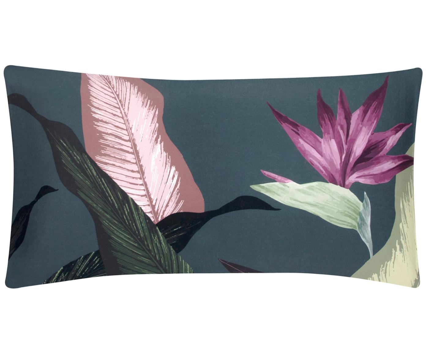 Funda de almohada de satén Flora, caras distintas, Multicolor, gris oscuro, An 45 x L 85 cm
