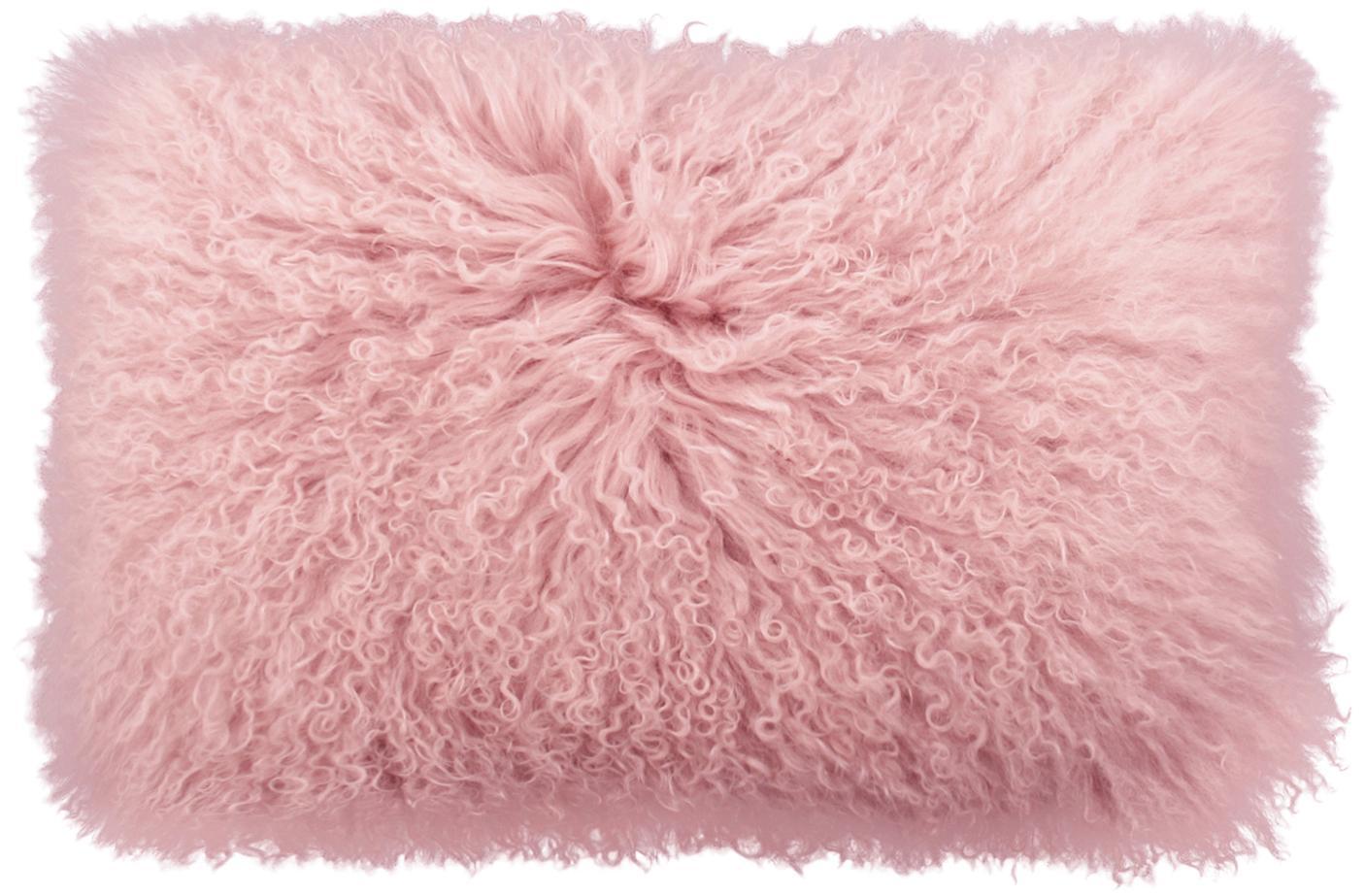 Langhaar-Lammfell Kissenhülle Ella, gelockt, Vorderseite: 100% mongolisches Lammfel, Rückseite: 100% Polyester, Rosa, 30 x 50 cm