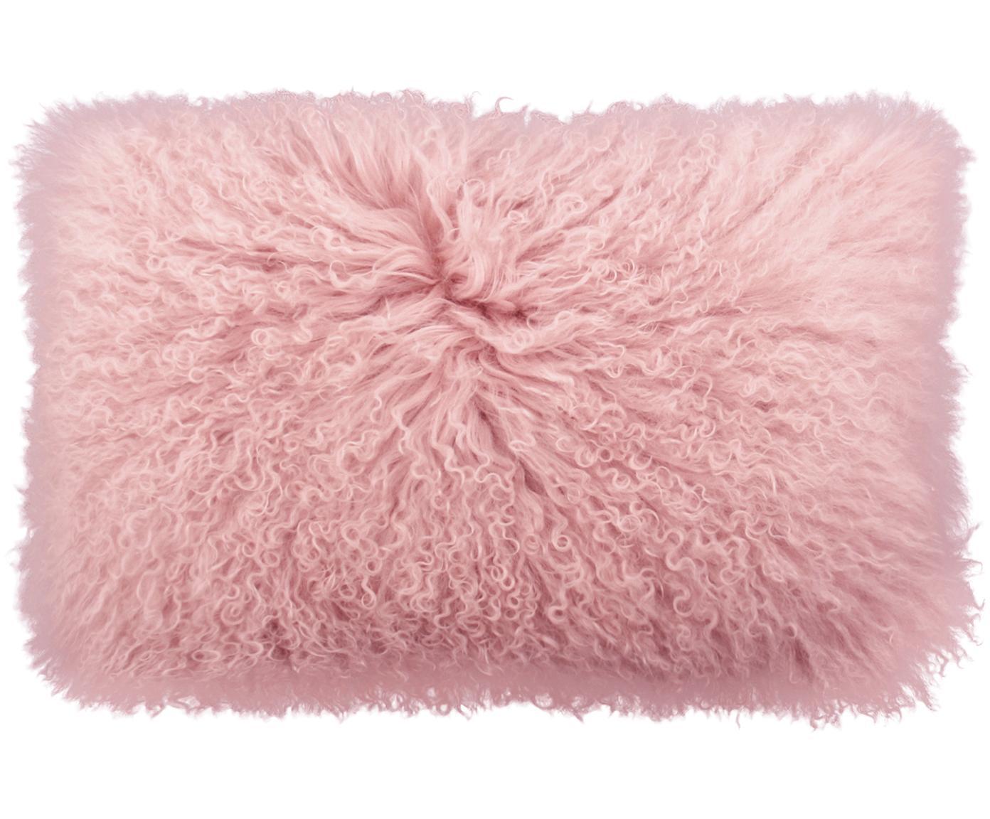 Federa arredo in pelliccia d'agnello a pelo lungo Ella, Retro: 100% poliestere, Rosa, Larg. 30 x Lung. 50 cm