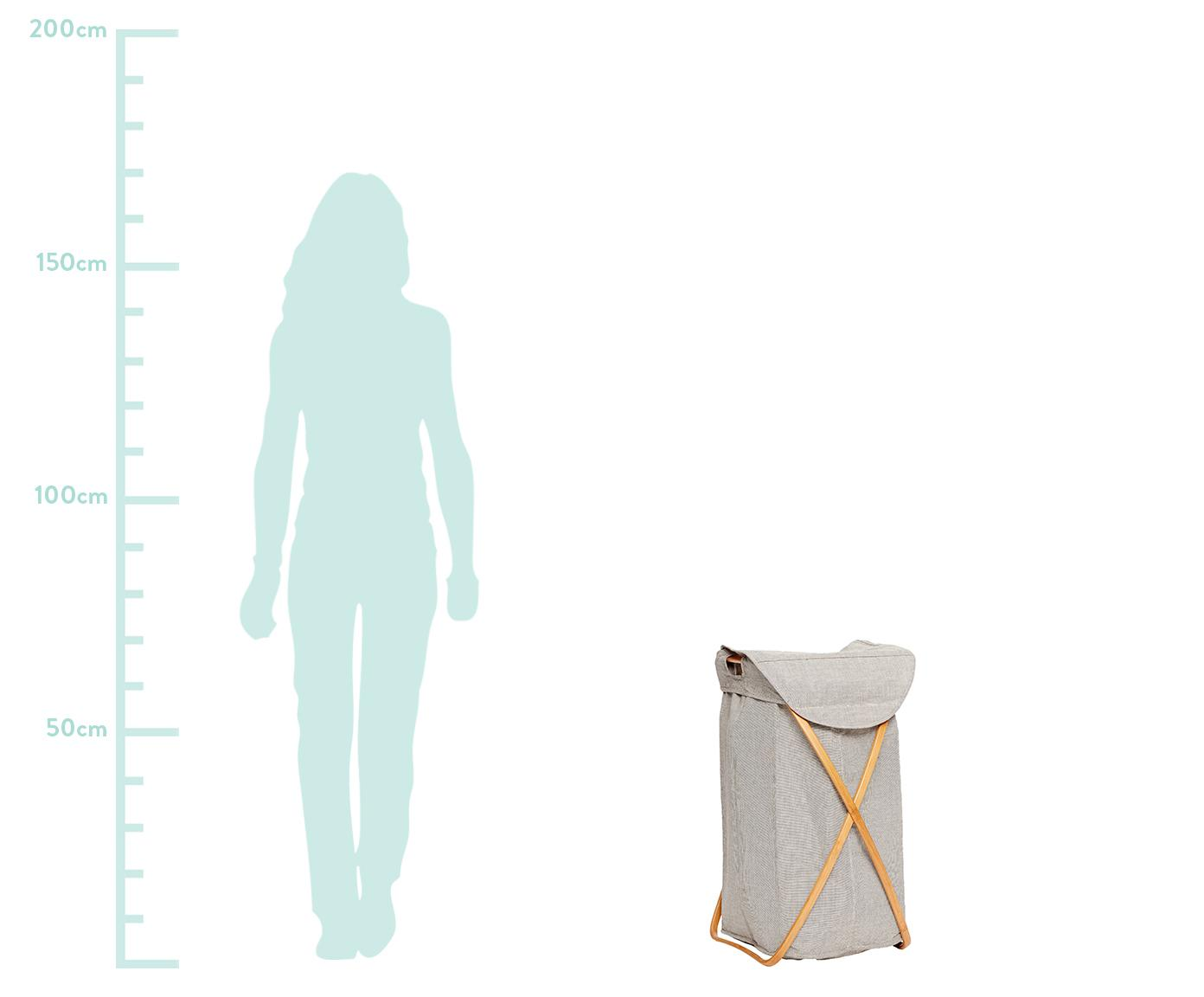 Wasmand Maya, Frame: bamboehout, Wasmand: lichtgrijs. Frame: beige, 39 x 66 cm