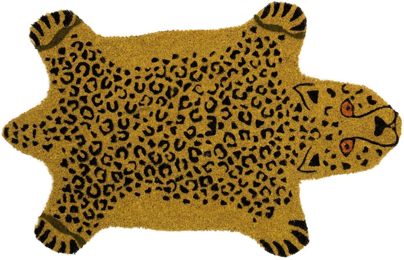 Zerbino in cocco Cheetah, Fibra di cocco, Marrone, nero, Larg. 45 x Lung. 70 cm