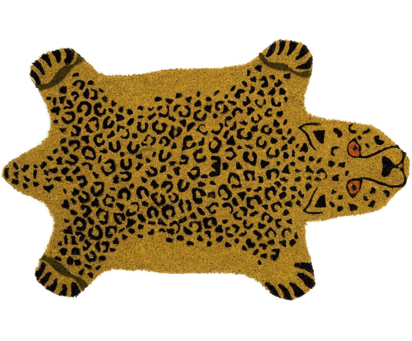 Fußmatte Cheetah, Oberseite: Kokosfaser, Unterseite: PVC, Braun, Schwarz, 40 x 70 cm