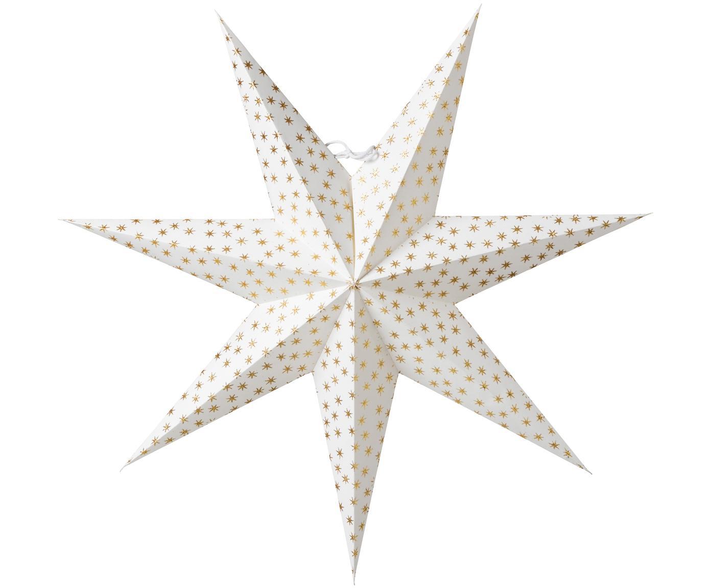 Estrella artesanal Asta, Papel, Blanco, dorado, Ø 60 cm