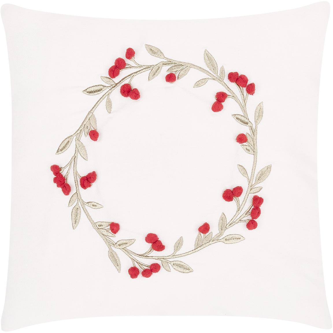 Bestickte Samt-Kissenhülle Christmas Wreath, Cremeweiß, 40 x 40 cm