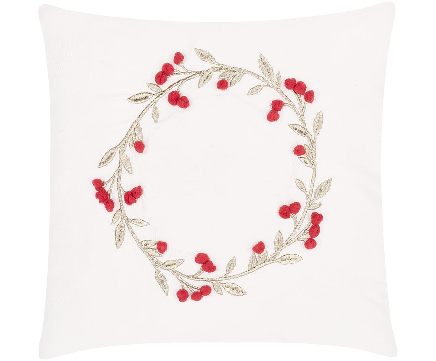 Bestickte Samt-Kissenhülle Christmas Wreath mit verzierenden Bommeln, Cremeweiss, 40 x 40 cm