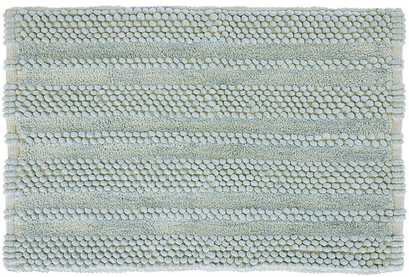 Tappeto bagno con struttura a rilievo Nea, 65% ciniglia, 35% cotone, Verde menta, Larg. 80 x Lung. 120 cm