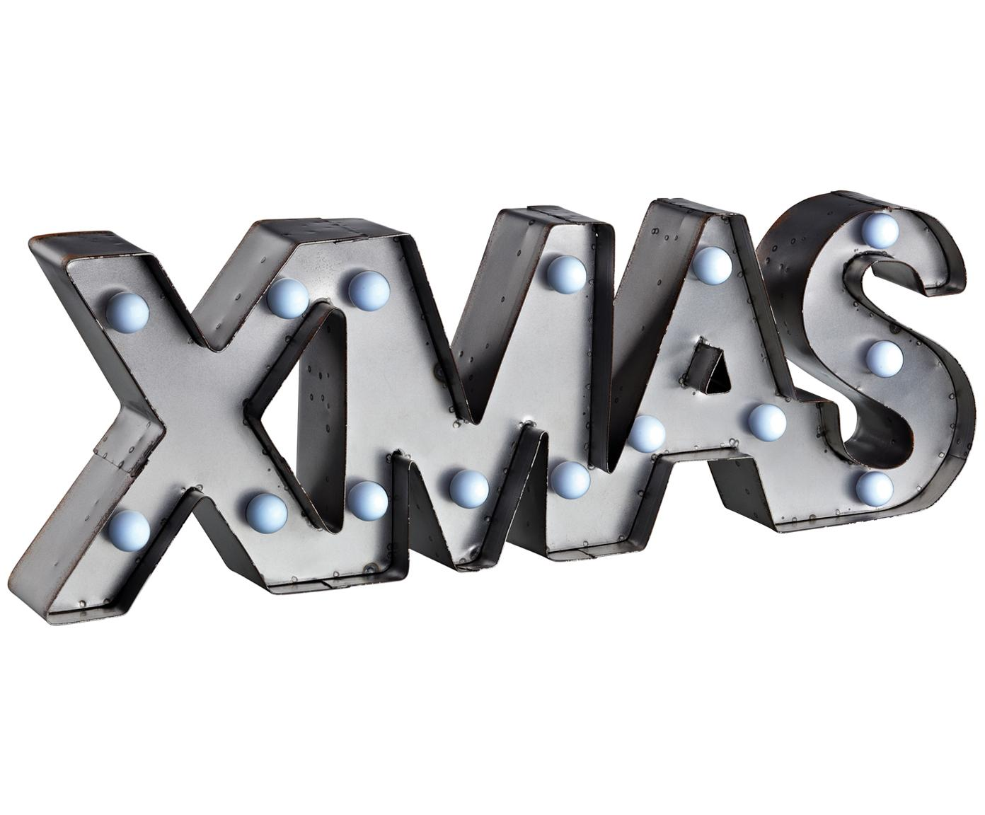 LED-Leuchtobjekt XMAS, Metall, lackiert, Grau, 47 x 16 cm
