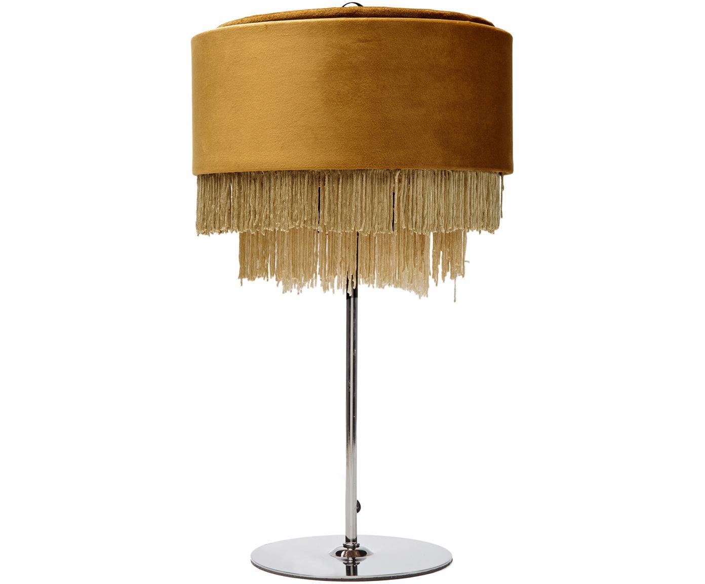 Fluwelen tafellamp Tassel, Franjes: polyester, Lampvoet: gelakt staal, Geel, Ø 25 x H 43 cm