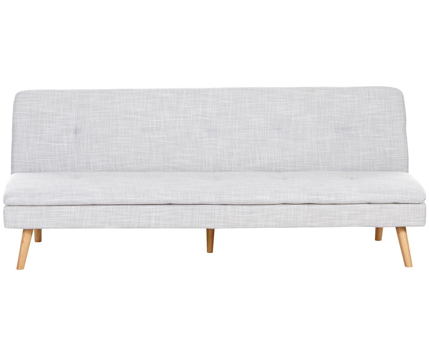 Sofa rozkładana Amelie (3-osobowa), Tapicerka: poliester 30000 cykli w , Stelaż: drewno sosnowe, Nogi: drewno kauczukowe, Tapicerka: jasny szary nogi: drewno kauczukowe, S 200 x W 79 cm