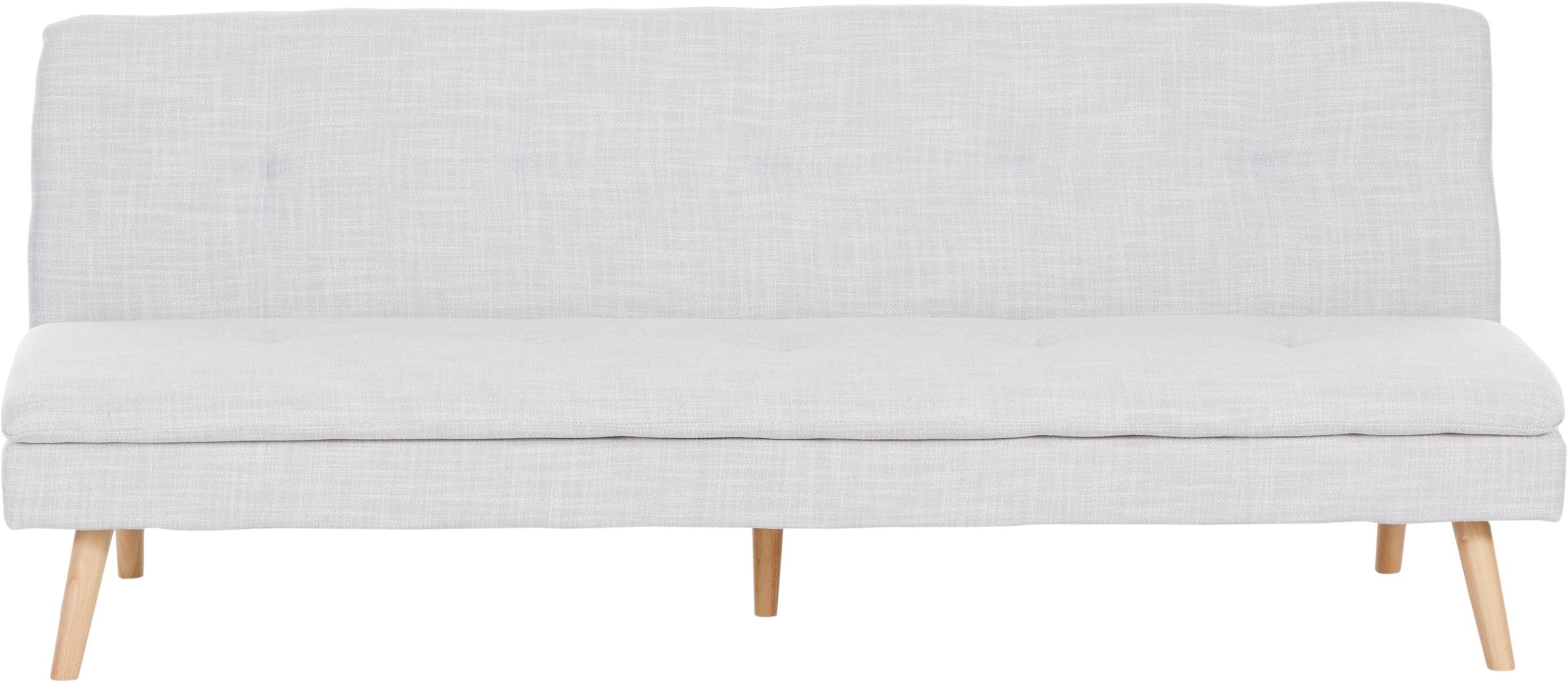 Sofá cama Amelie, Tapizado: poliéster Alta resistenci, Estructura: madera de pino Densidad 3, Patas: madera de caucho, Tejido gris claro, An 200 x Al 79 cm