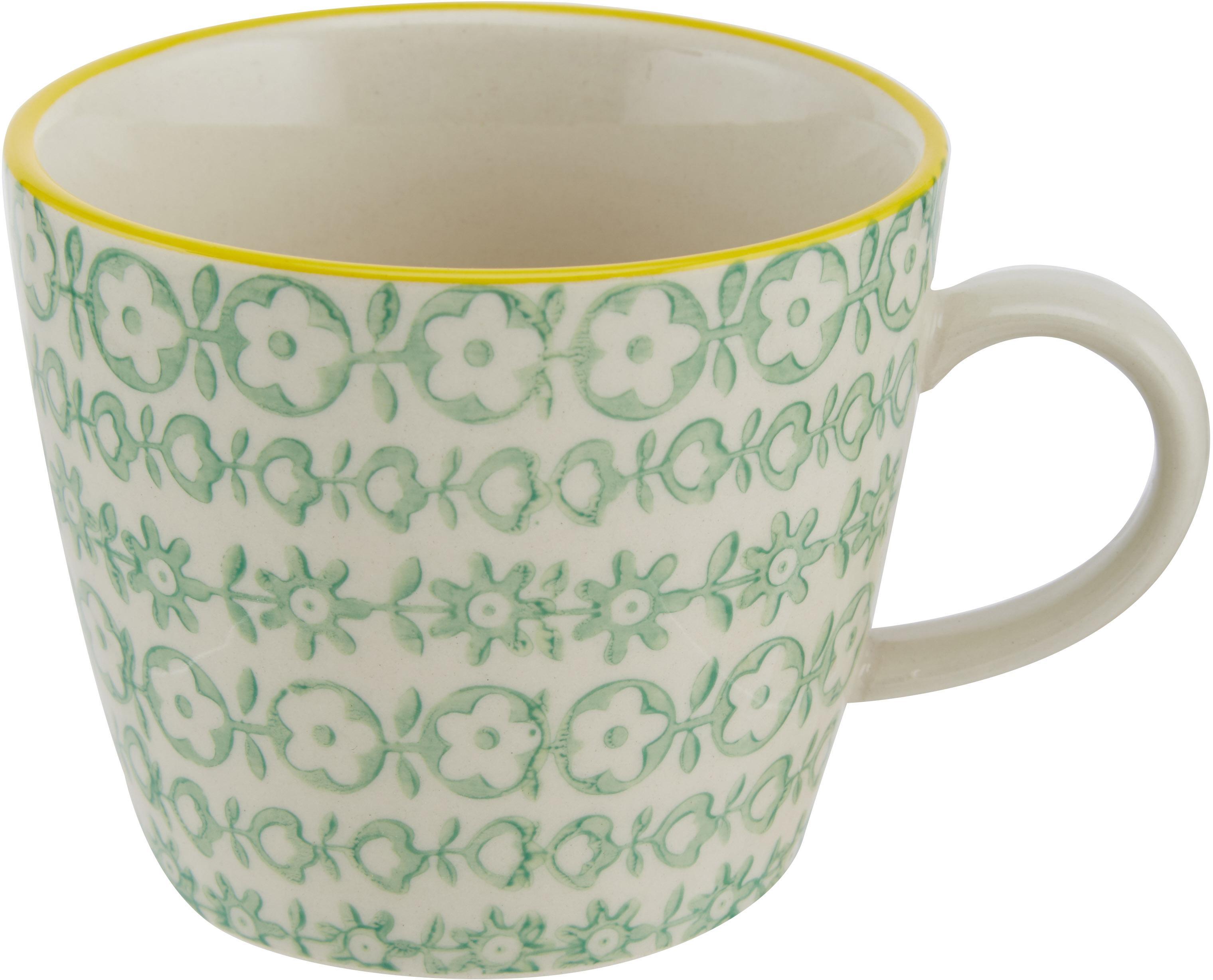 Set 4 tazze Carla, Terracotta, Bianco, nero, giallo, rosso, arancione, Ø 10 x Alt. 8 cm