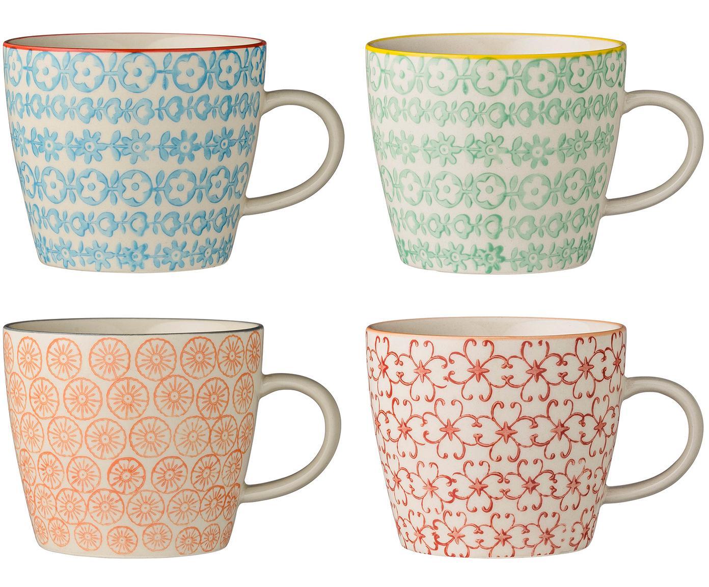 Tassen-Set Carla, 4-tlg., Steingut, Weiss, Schwarz, Gelb, Rot, Orange, Ø 10 x H 8 cm