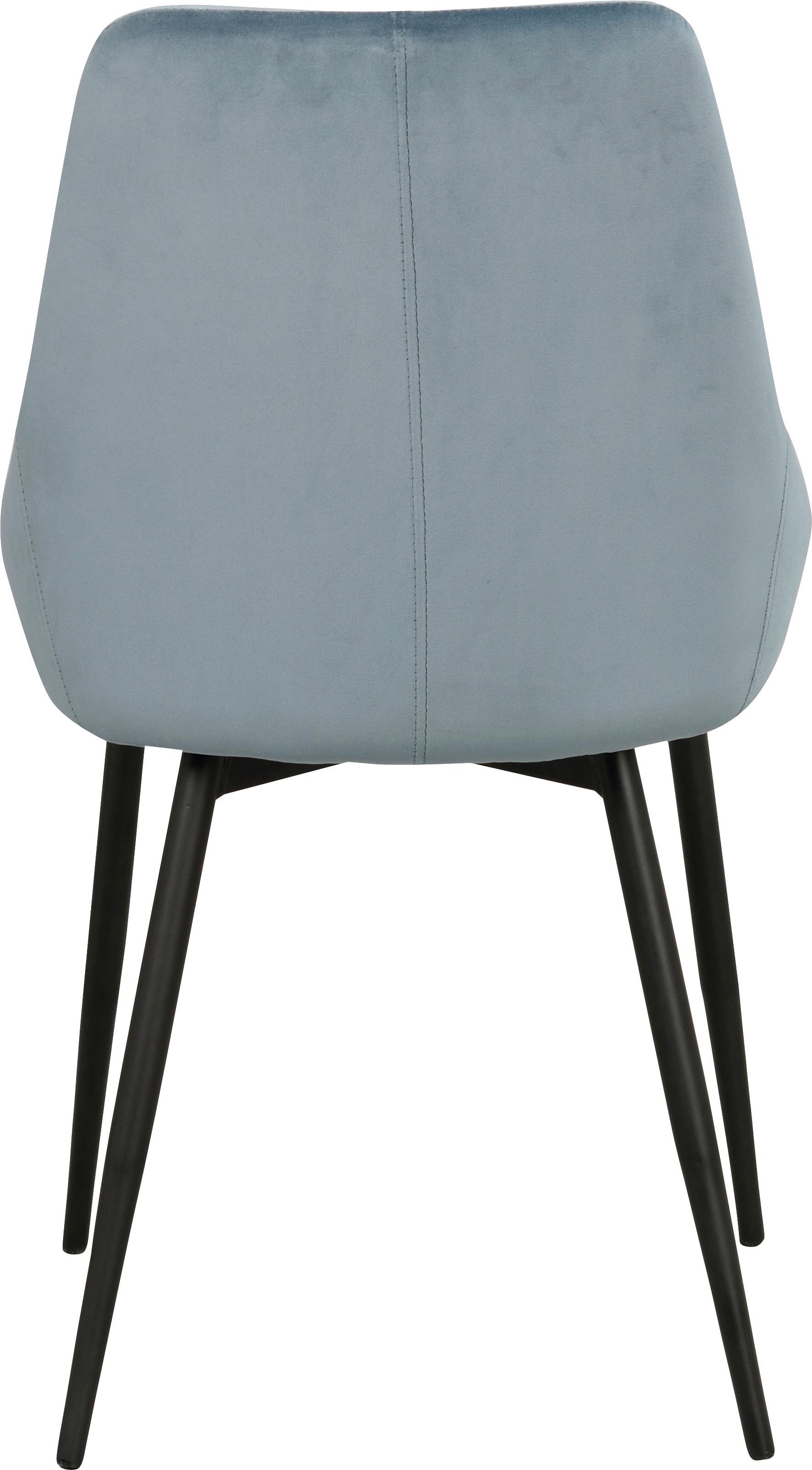 Samt-Polsterstühle Sierra, 2 Stück, Bezug: Polyestersamt Der strapaz, Beine: Metall, lackiert, Samt Blau, Beine Schwarz, B 49 x T 55 cm