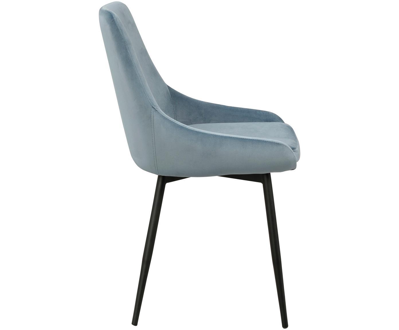 Krzesło tapicerowane z aksamitu Sierra, 2 szt., Tapicerka: aksamit poliestrowy 1000, Nogi: metal lakierowany, Niebieski, czarny, S 49 x G 55 cm