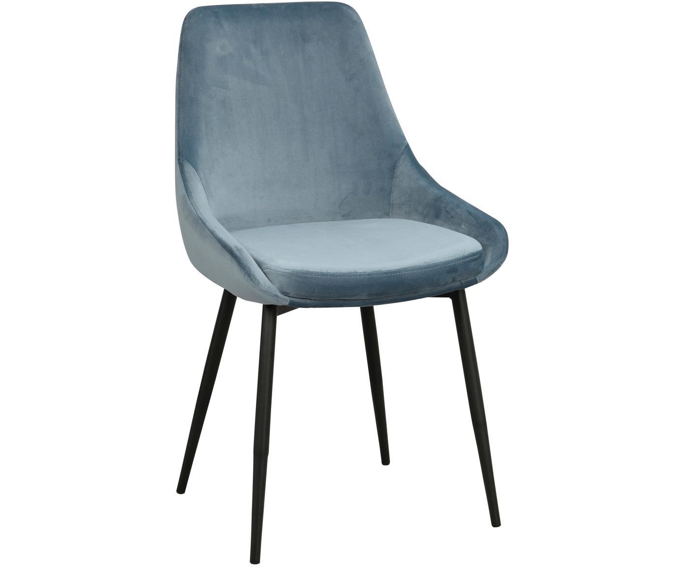 Fluwelen stoelen Sierra, 2 stuks, Bekleding: polyester fluweel, Poten: gelakt metaal, Blauw, zwart, B 49 x D 55 cm