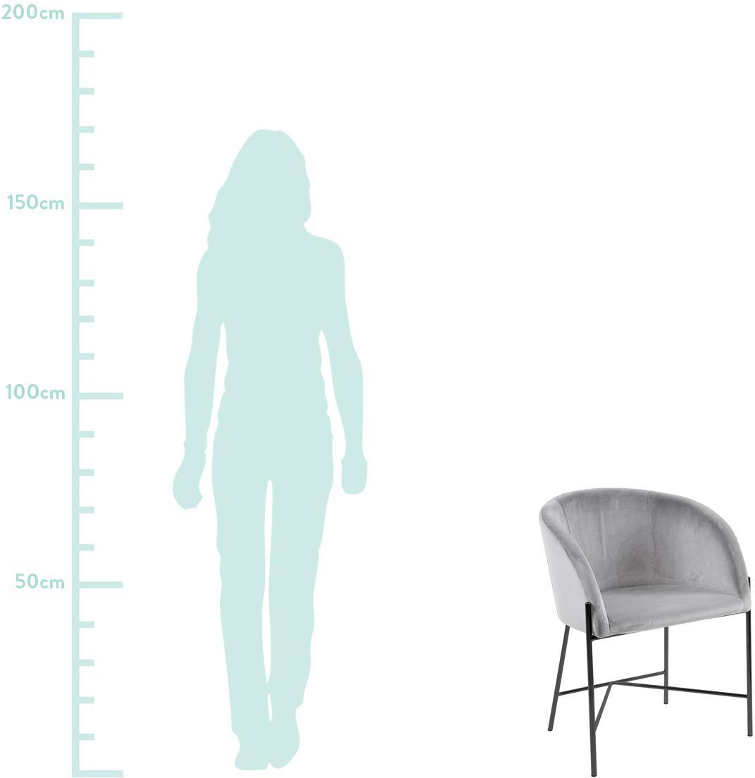 Samt-Polsterstuhl Nelson mit Armlehnen, Bezug: Polyestersamt Der hochwer, Beine: Metall, lackiert, Grau, Schwarz, B 56 x T 55 cm