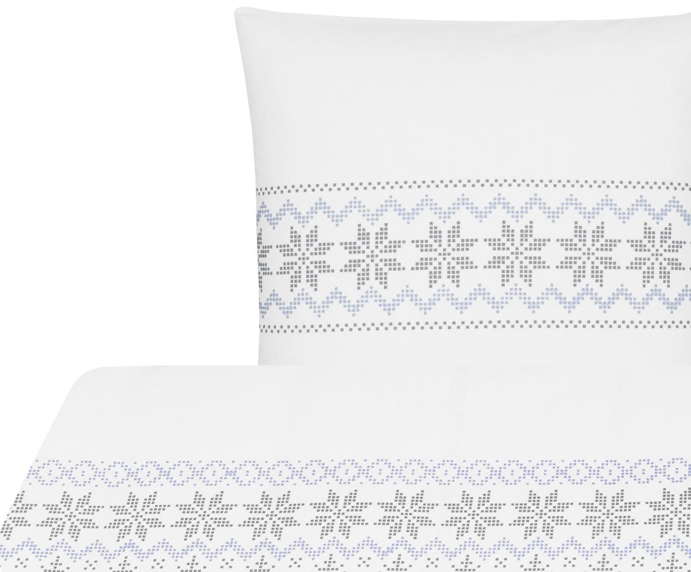 Flanell-Bettwäsche Finja mit Muster, Webart: Flanell Flanell ist ein s, Weiss, Grau, Hellblau, 155 x 220 cm + 1 Kissen 80 x 80 cm