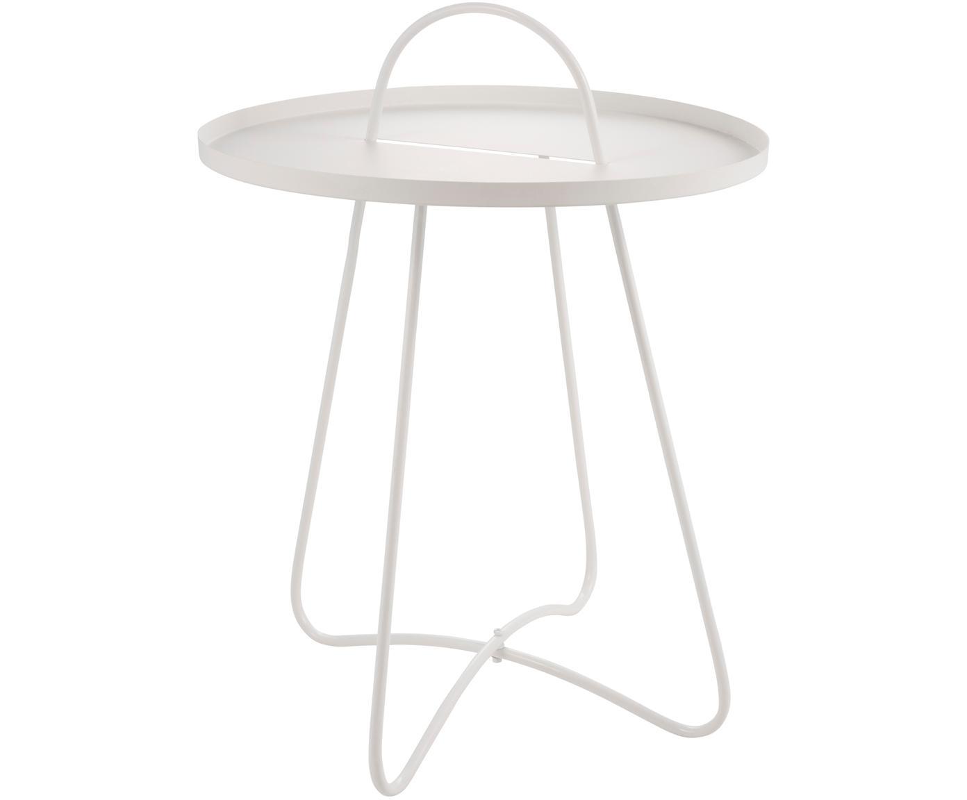 Mesa auxiliar de metal Pronto, Metal recubierto, Blanco, Ø 46 x Al 58 cm