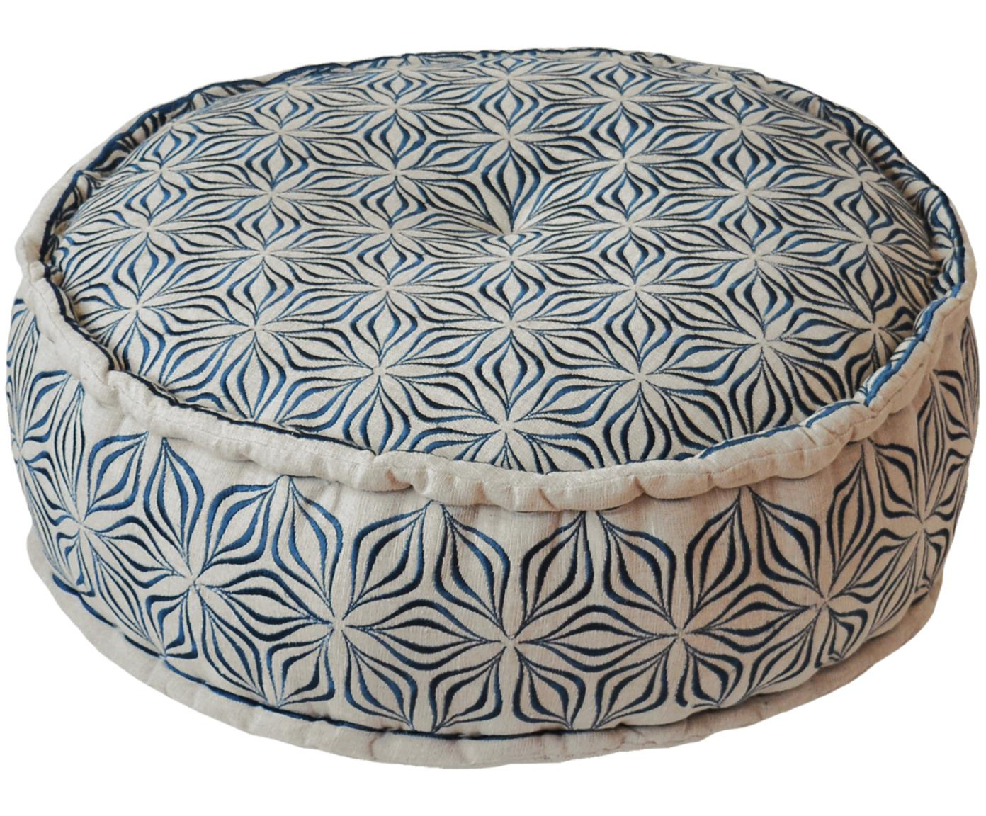 Cojín de suelo redondo de lino Martha, Gris antracita, Ø 60 x Al 20 cm