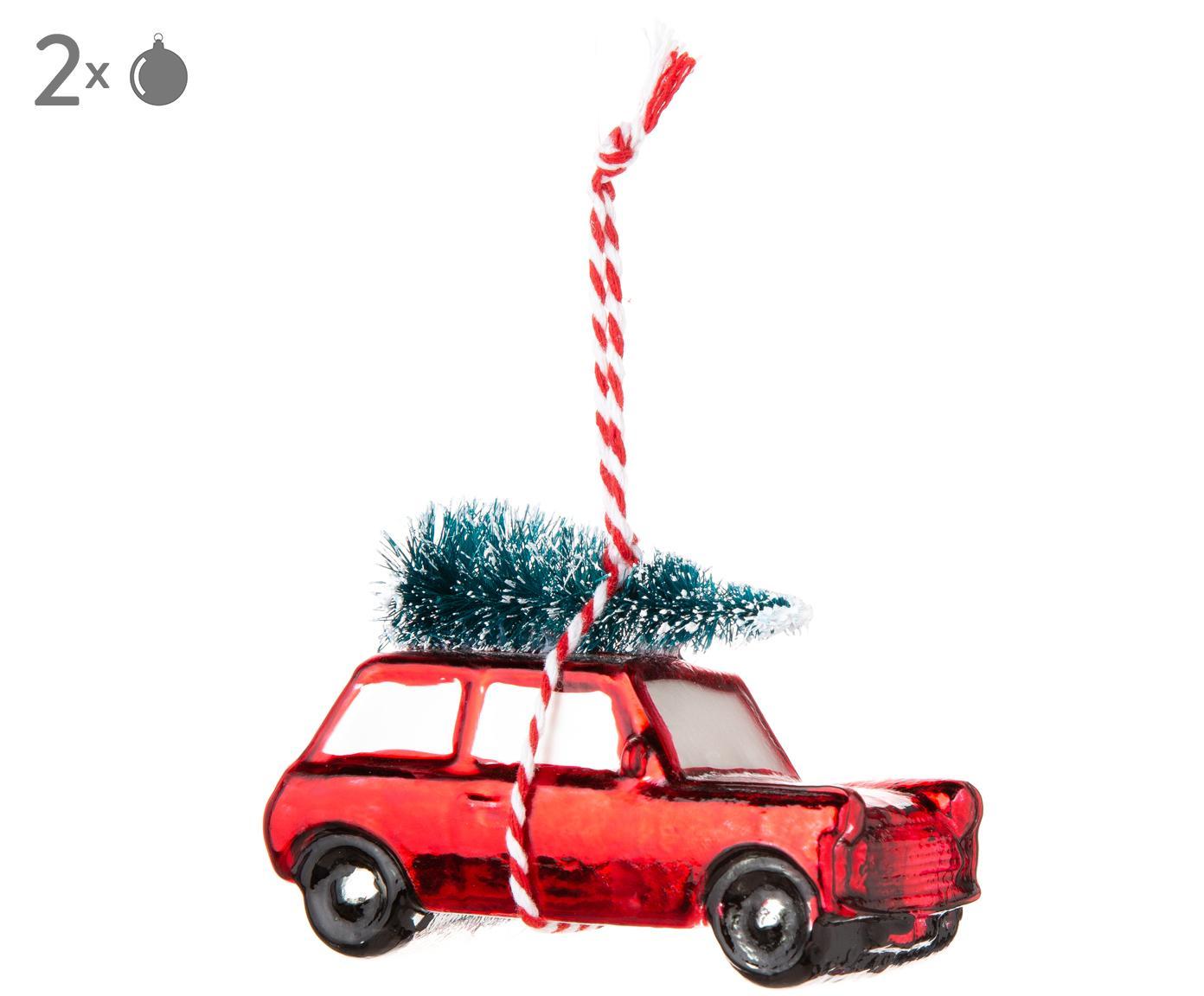 Ciondolo Car, 2 pz., Cinturino: lana, Natale rosso, verde, bianco, L 7 x A 4 cm
