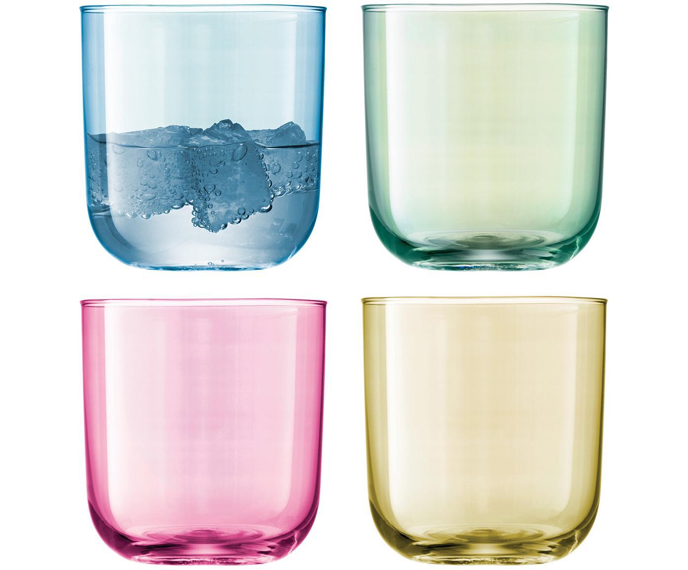 Handbeschilderde waterglazen Polka in kleur, 4-delig, Glas, Blauw, groen, roze, geel, Ø 9 x H 9 cm