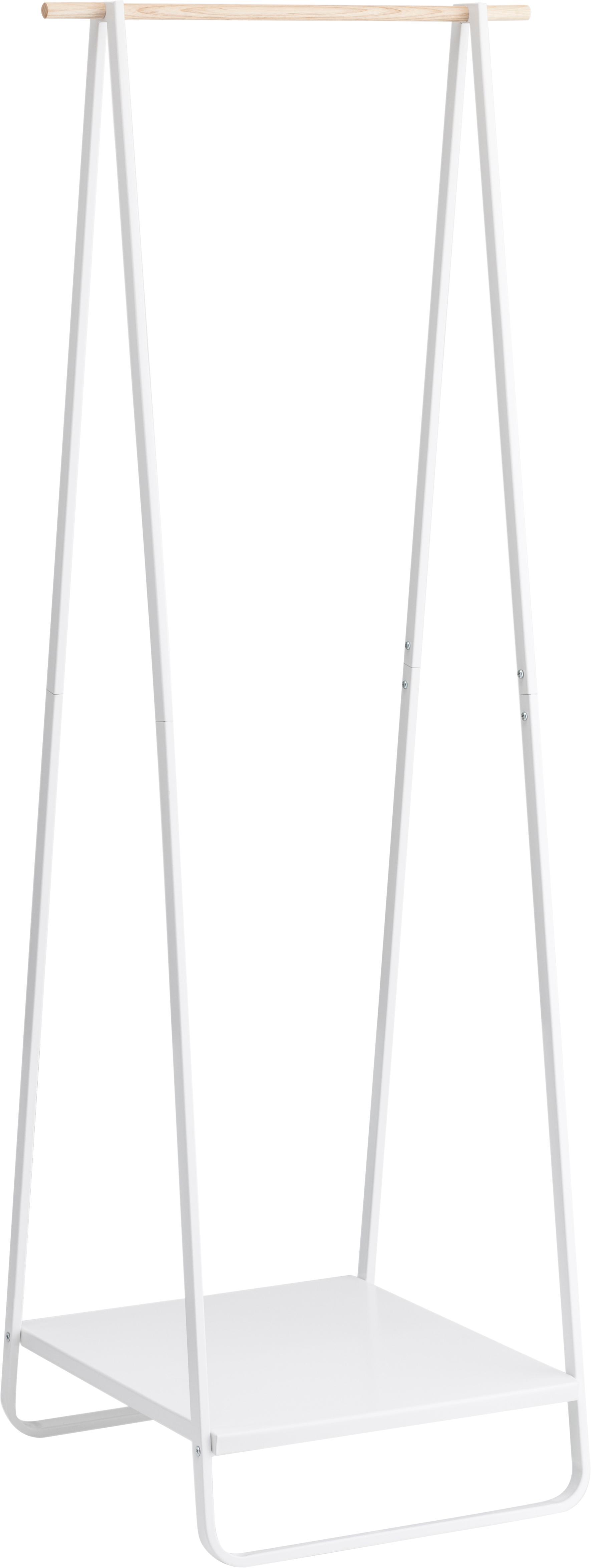 Appendiabiti in metallo Tower, Acciaio rivestito, legno, Bianco, Larg. 52 x Alt. 140 cm