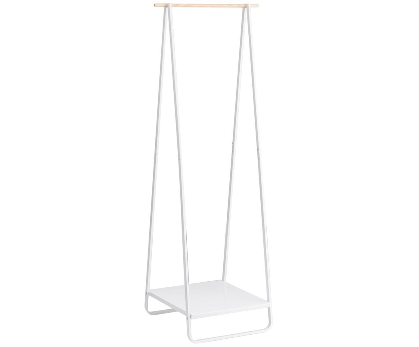 Metalen kledingstang Tower, Frame: gepoedercoat metaal, Wit, houtkleurig, 52 x 140 cm