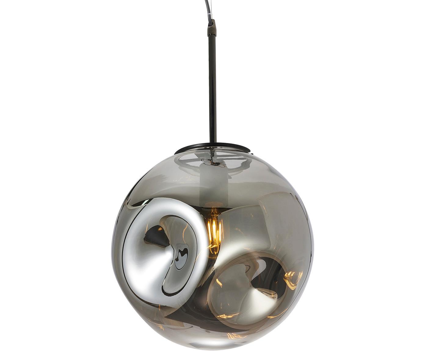 Pendelleuchte Blown aus Glas, Lampenschirm: Glas, Grau, Schwarz, Ø 30 x H 30 cm