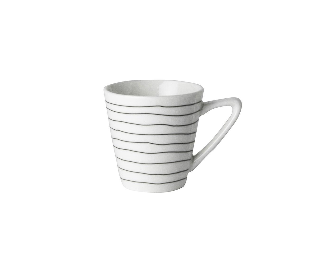 Espressotassen Eris Loft mit Liniendekor, 4 Stück, Porzellan, Weiss, Schwarz, Ø 6 x H 6 cm