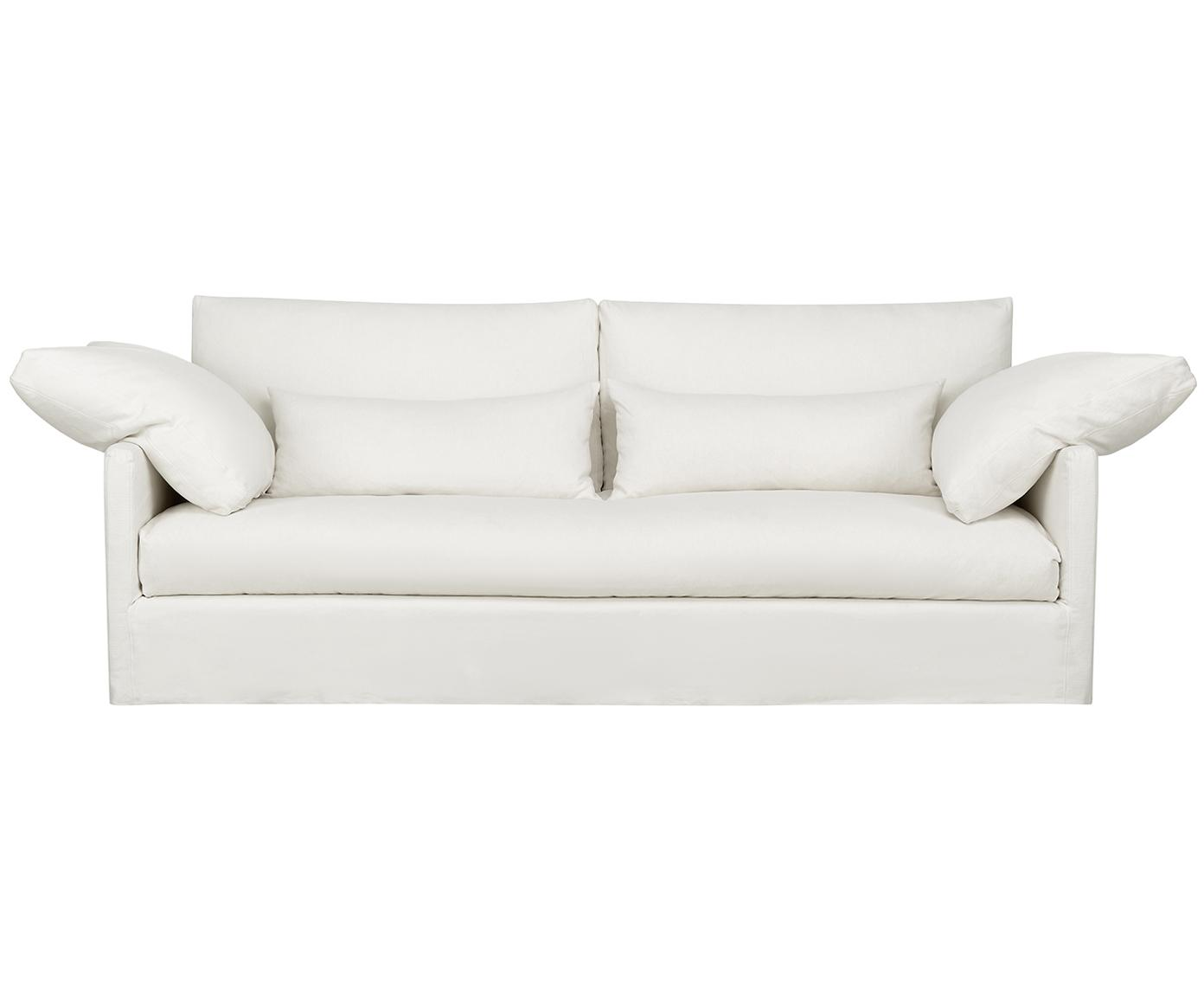 Hussen-Sofa Eva (3-Sitzer), Bezug: 62% Baumwolle, 20% Leinen, Gestell: Mitteldichte Holzfaserpla, Webstoff Elfenbeinfarben, B 250 x T 103 cm