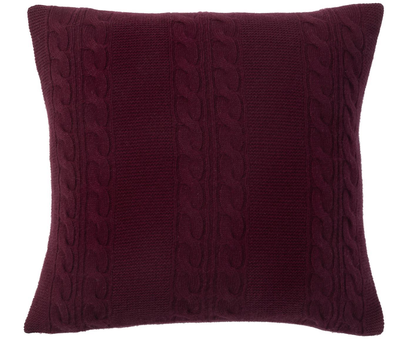 Funda de cojín de cachemira pura Leonie, 100%cachemira La cachemira es un tejido muy suave, cómodo y cálido, Rojo oscuro, An 40 x L 40 cm