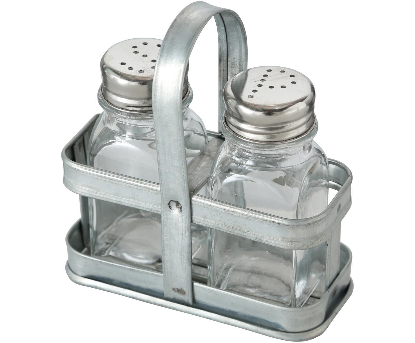 Zout- en peperstrooierset Edna, 3-delig, Houder: glas, Transparant, metaalkleurig, 12 x 12 cm