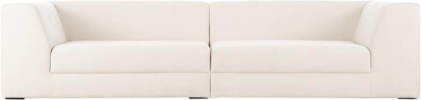 Divano componibile 3 posti in tessuto beige Grant, Rivestimento: cotone 20.000 cicli di sf, Struttura: legno di abete, Piedini: legno massello di faggio , Tessuto beige, Larg. 266 x Prof. 106 cm