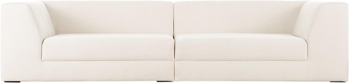 Modulaire bank Grant (3-zits), Bekleding: katoen, Frame: sparrenhout, Poten: massief gelakt beukenhout, Beige, B 266 x D 106 cm