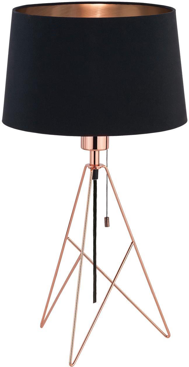 Grosse Tischlampe Camporale in Kupfer-Schwarz, Schwarz, Kupferfarben, Ø 30 x H 56 cm