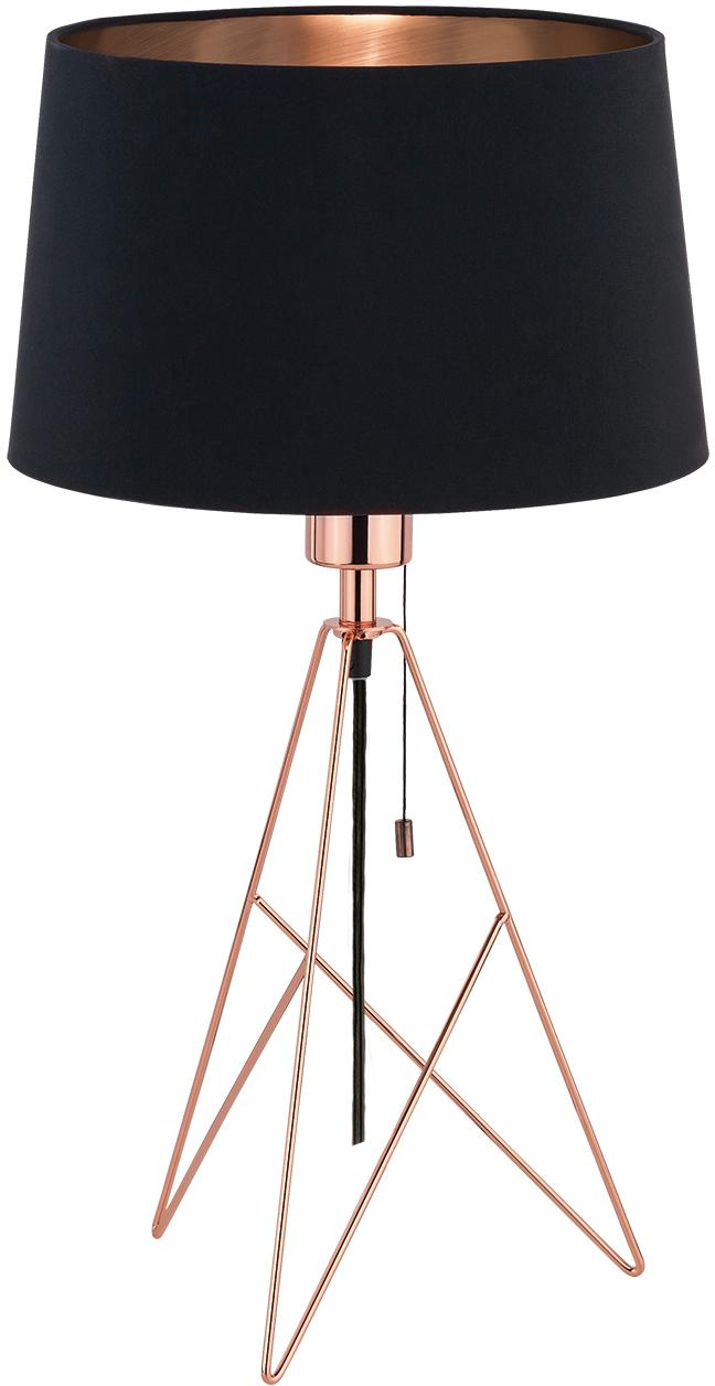 Lampa stołowa Camporale, Czarny, odcienie miedzi, Ø 30 x W 56 cm