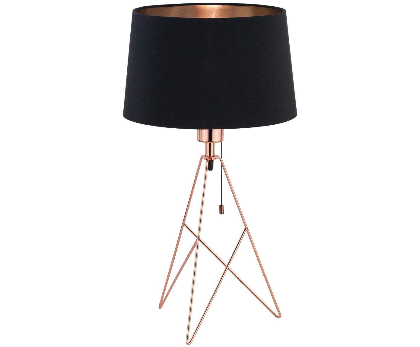 Tischleuchte Camporale in Kupfer-Schwarz, Schwarz, Kupferfarben, Ø 30 x H 56 cm