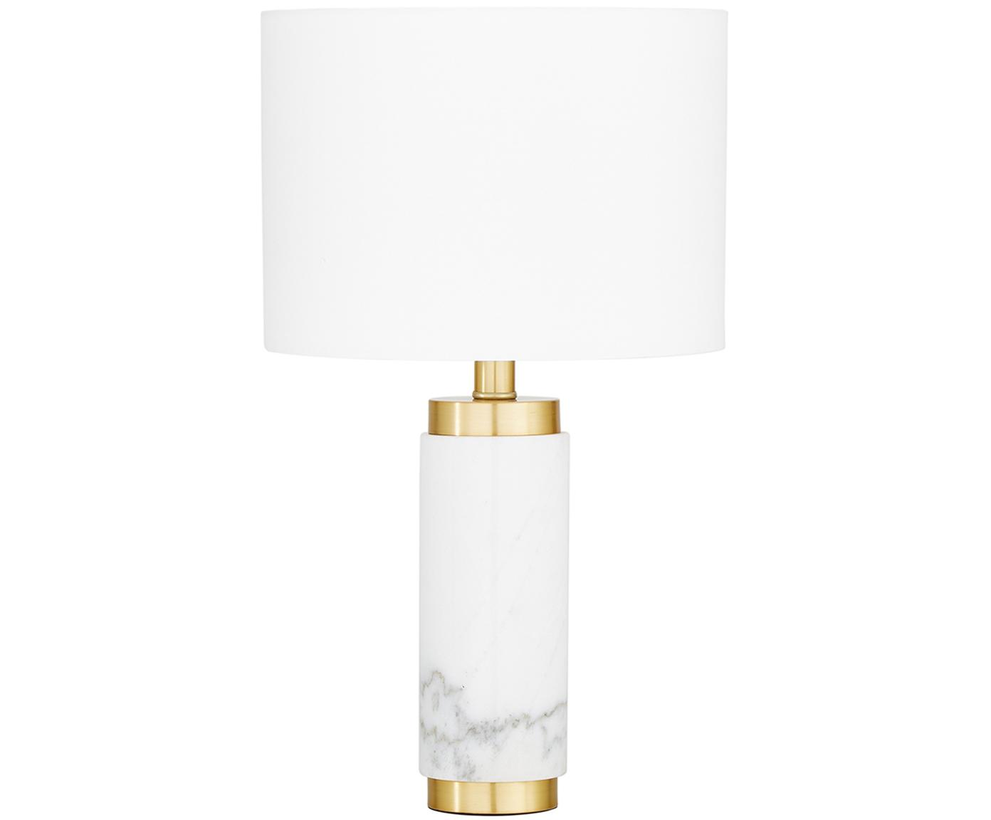 Marmor-Tischleuchte Miranda, Lampenschirm: Textil, Lampenfuß: Marmor, Messing, gebürste, Weiß,Messingfarben, Ø 28 x H 48 cm