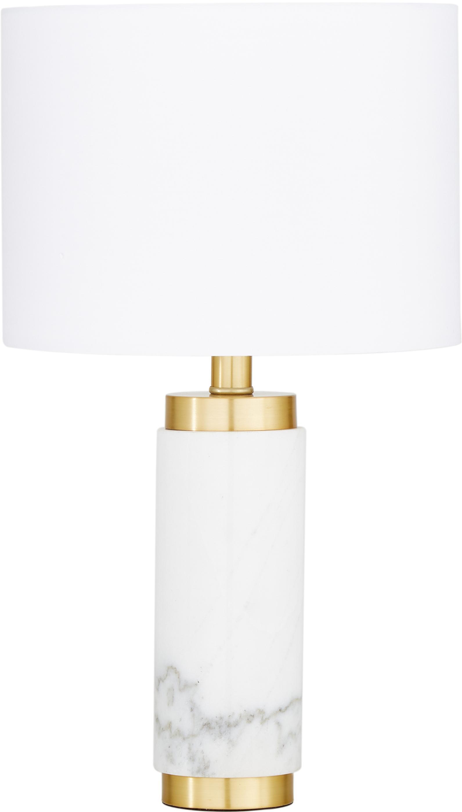 Lampada da tavolo in marmo Miranda, Paralume: tessuto, Base della lampada: marmo, ottone spazzolato, Bianco, ottonato, Ø 28 x Alt. 48 cm