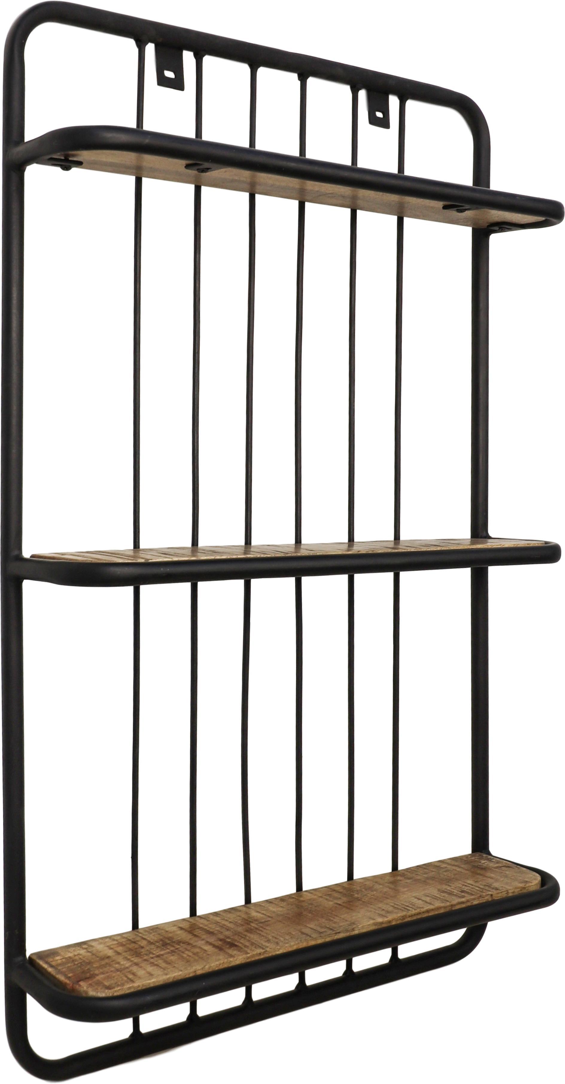 Ripiano a muro in stile industriale Hilly, Ripiani: legno di mango, Struttura: metallo verniciato a polv, Marrone, nero, Larg. 50 x Alt. 80 cm